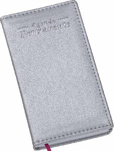 Agenda Permanente de Bolso Capa Metalizada Lisa Prata