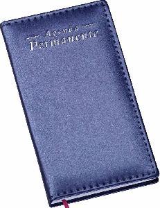 Agenda Permanente de Bolso Capa Metalizada Lisa Azul
